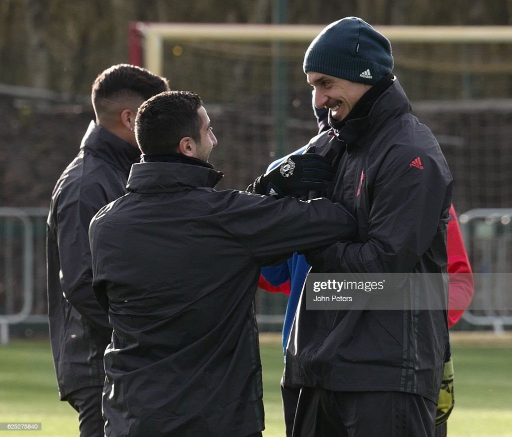 Henrikh Mkhitaryan and Zlatan Ibrahimovic of Manchester United in action during a first team training session at Aon Training Complex on November 23, 2016 in Manchester, England.