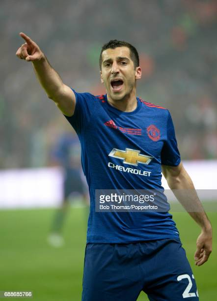 Henrikh Mkhitaryan in action for Manchester United during the UEFA Europa League final between Ajax and Manchester United at the Friends Arena on May...