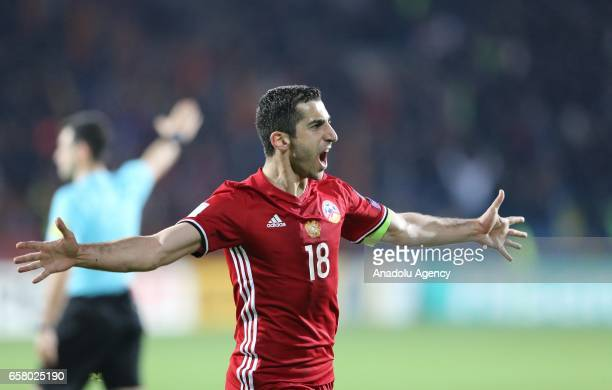 Henrikh Mkhitaryan of Armenia celebrates scoring a goal during the FIFA 2018 World Cup Qualifying Round football match between Armenia and Kazakhstan...