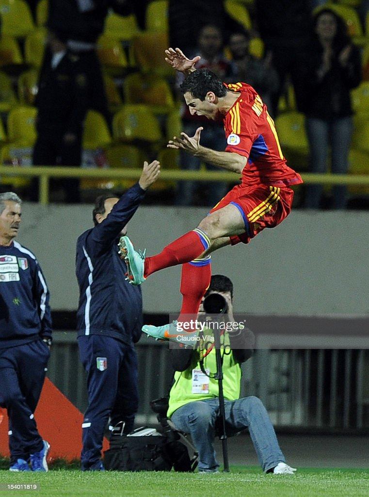 Henrikh Mkhitaryan of Armenia celebrates scoring the first goal during the FIFA 2014 World Cup Qualifier group B match between Armenia and Italy at Hrazdan Stadium on October 12, 2012 in Yerevan, Armenia.