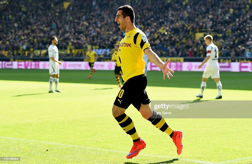 <a gi-track='captionPersonalityLinkClicked' href=/galleries/search?phrase=Henrikh+Mkhitaryan&family=editorial&specificpeople=6234732 ng-click='$event.stopPropagation()'>Henrikh Mkhitaryan</a> (10) of Borussia Dortmund celebrates after scoring his teams first goal during the Bundesliga match between Borussia Dortmund and SC Paderborn at Signal Iduna Park on April 18, 2015 in Dortmund, Germany.