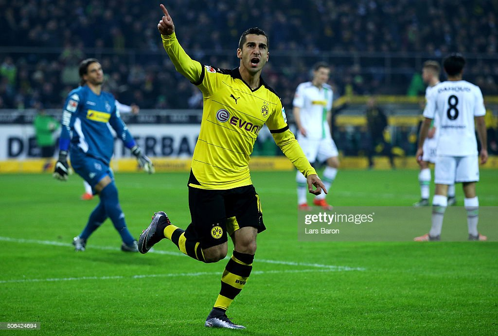 <a gi-track='captionPersonalityLinkClicked' href=/galleries/search?phrase=Henrikh+Mkhitaryan&family=editorial&specificpeople=6234732 ng-click='$event.stopPropagation()'>Henrikh Mkhitaryan</a> of Borussia Dortmund celebrates as he scores their second goal during the Bundesliga match between Borussia Moenchengladbach and Borussia Dortmund at Borussia-Park on January 23, 2016 in Moenchengladbach, Germany.