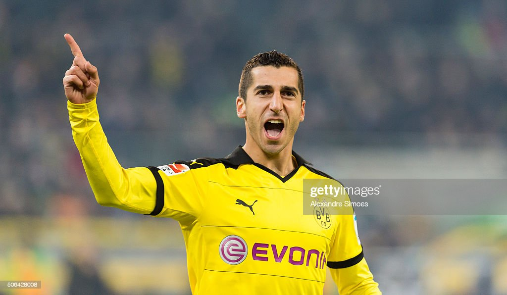 <a gi-track='captionPersonalityLinkClicked' href=/galleries/search?phrase=Henrikh+Mkhitaryan&family=editorial&specificpeople=6234732 ng-click='$event.stopPropagation()'>Henrikh Mkhitaryan</a> of Borussia Dortmund celebrates scoring the goal to the 0:2 during the Bundesliga match between Borussia Moenchengladbach and Borussia Dortmund at Borussia-Park on January 23, 2016 in Moenchengladbach, Germany.