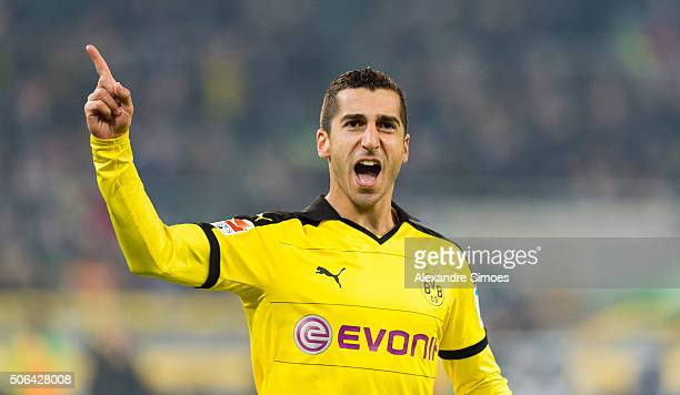 Henrikh Mkhitaryan of Borussia Dortmund celebrates scoring the goal to the 02 during the Bundesliga match between Borussia Moenchengladbach and...