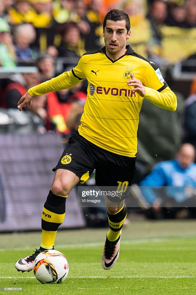 Henrikh Mkhitaryan of Borussia Dortmund during the Bundesliga match between Borussia Dortmund and VfL Wolfsburg on April 30, 2016 at the Signal Idun Park stadium in Dortmund, Germany.
