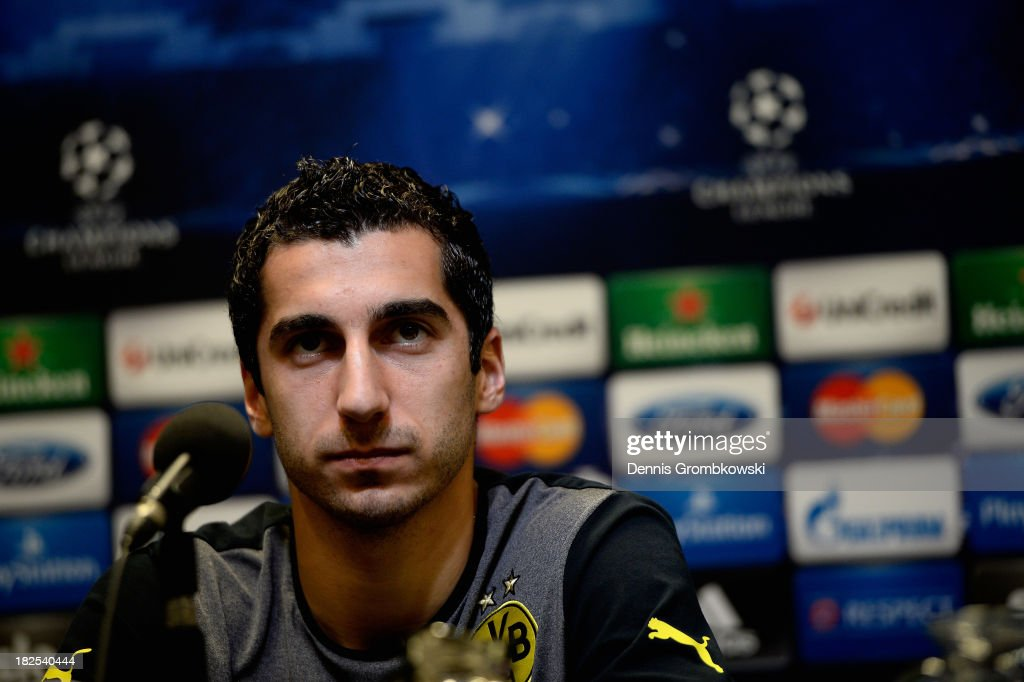 <a gi-track='captionPersonalityLinkClicked' href=/galleries/search?phrase=Henrikh+Mkhitaryan&family=editorial&specificpeople=6234732 ng-click='$event.stopPropagation()'>Henrikh Mkhitaryan</a> of Borussia Dortmund reacts during a press conference ahead of their Champions League match against Olympique Marseille on September 30, 2013 in Dortmund, Germany.