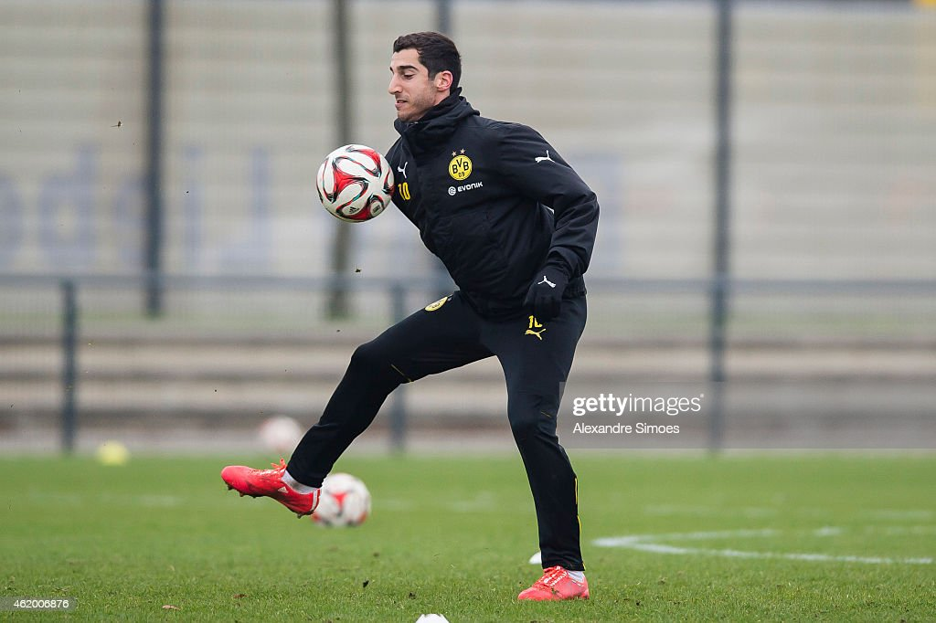 <a gi-track='captionPersonalityLinkClicked' href=/galleries/search?phrase=Henrikh+Mkhitaryan&family=editorial&specificpeople=6234732 ng-click='$event.stopPropagation()'>Henrikh Mkhitaryan</a> of Borussia Dortmund returns to team training at Borussia Dortmund training center on JANUARY 23, 2015 in Dortmund, North Rhine-Westphalia, Germany.