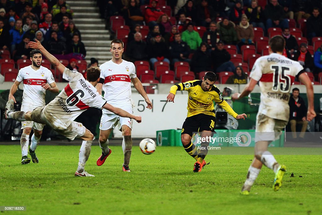 <a gi-track='captionPersonalityLinkClicked' href=/galleries/search?phrase=Henrikh+Mkhitaryan&family=editorial&specificpeople=6234732 ng-click='$event.stopPropagation()'>Henrikh Mkhitaryan</a> of Dortmund is challenged by <a gi-track='captionPersonalityLinkClicked' href=/galleries/search?phrase=Georg+Niedermeier&family=editorial&specificpeople=5543183 ng-click='$event.stopPropagation()'>Georg Niedermeier</a> of Stuttgart during the DFB Cup Quarter Final match between VfB Stuttgart and Borussia Dortmund at Mercedes-Benz Arena on February 9, 2016 in Stuttgart, Germany.