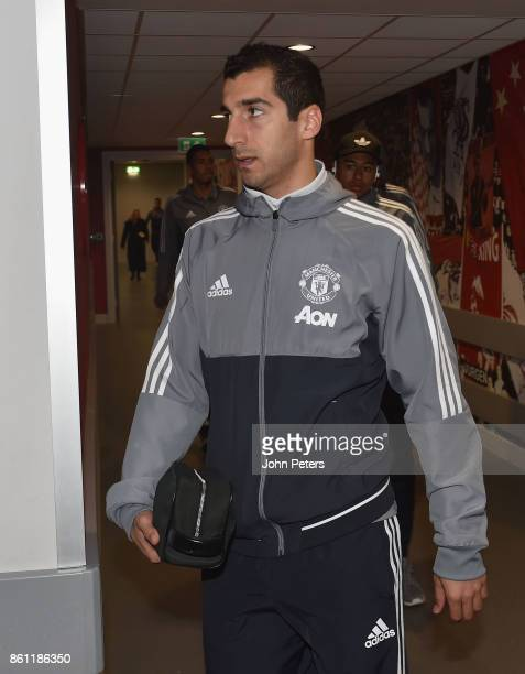 Henrikh Mkhitaryan of Manchester United arrives ahead of the Premier League match between Liverpool and Manchester United at Anfield on October 14...