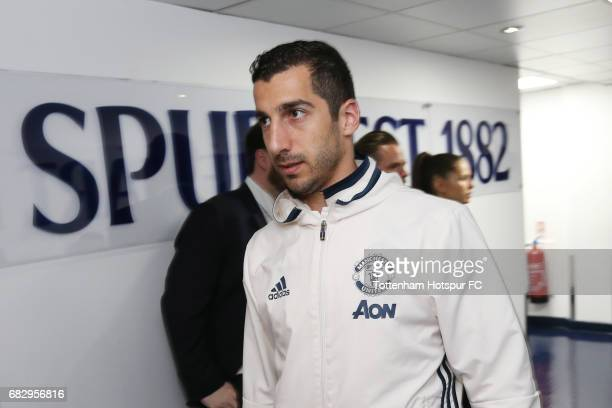 Henrikh Mkhitaryan of Manchester United arrives at the stadium prior to the Premier League match between Tottenham Hotspur and Manchester United at...