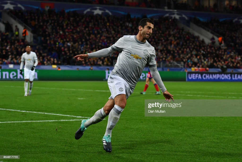 Henrikh Mkhitaryan of Manchester United celebrates after he scores his sides fourth goal during the UEFA Champions League group A match between CSKA Moskva and Manchester United at WEB Arena on September 27, 2017 in Moscow, Russia.