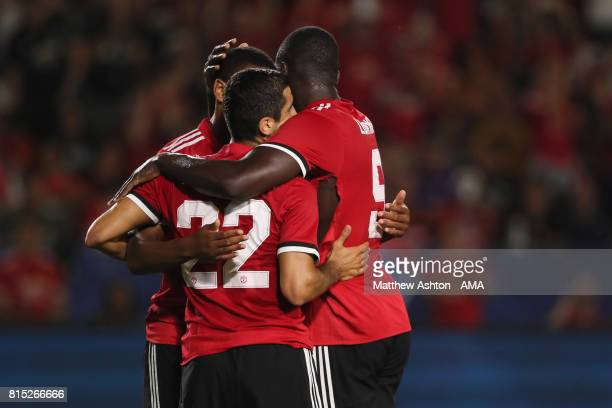 Henrikh Mkhitaryan of Manchester United celebrates after scoring a goal to make it 04 during to the friendly fixture between LA Galaxy and Manchester...