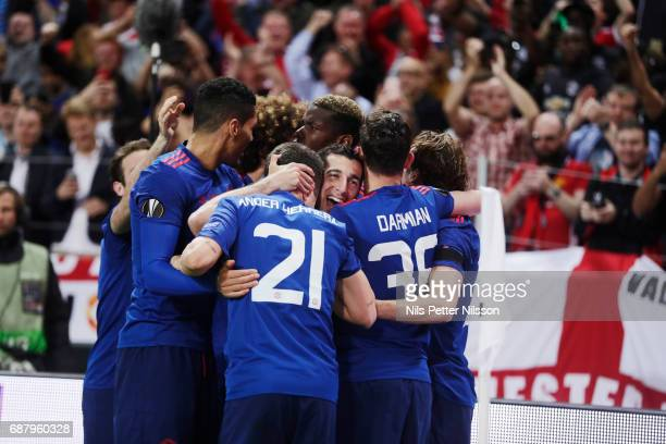 Henrikh Mkhitaryan of Manchester United celebrates after scoring to 02 during the UEFA Europa League Final between Ajax and Manchester United at...