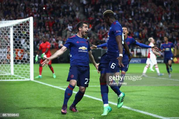 Henrikh Mkhitaryan of Manchester United celebrates scoring his sides second goal with Paul Pogba of Manchester United during the UEFA Europa League...