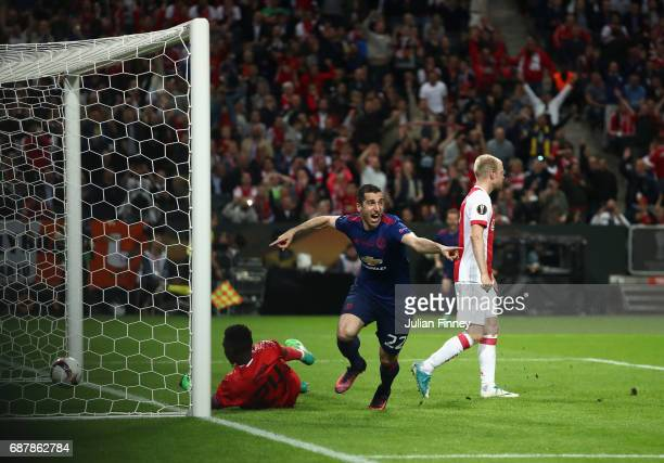 Henrikh Mkhitaryan of Manchester United celebrates scoring his sides second goal during the UEFA Europa League Final between Ajax and Manchester...