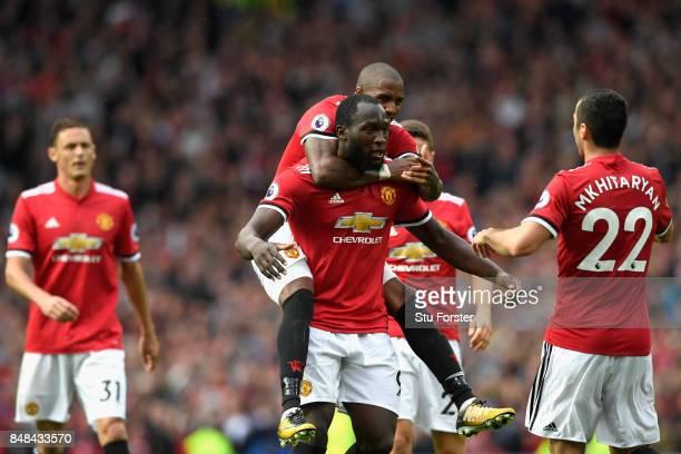 Henrikh Mkhitaryan of Manchester United celebrates scoring his sides second goal with Romelu Lukaku of Manchester United during the Premier League...