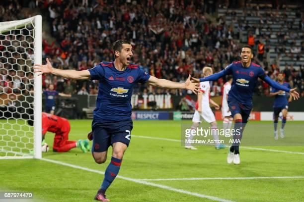 Henrikh Mkhitaryan of Manchester United celebrates scoring the second goal to make the score 02 during the UEFA Europa League Final between Ajax and...