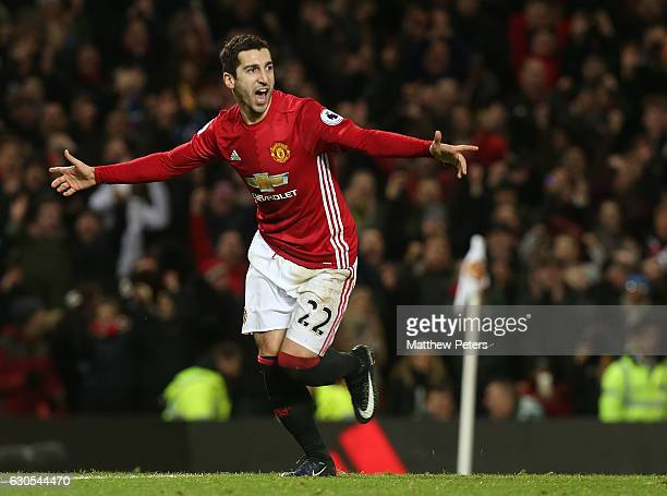 Henrikh Mkhitaryan of Manchester United celebrates scoring their third goalduring the Premier League match between Manchester United and Sunderland...