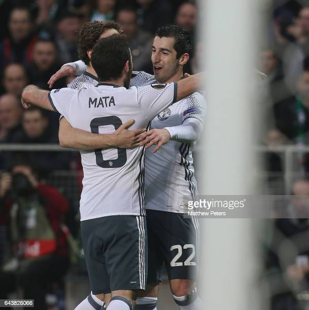 Henrikh Mkhitaryan of Manchester United celebrates scoring their first goal during the UEFA Europa League Round of 32 second leg match between AS...