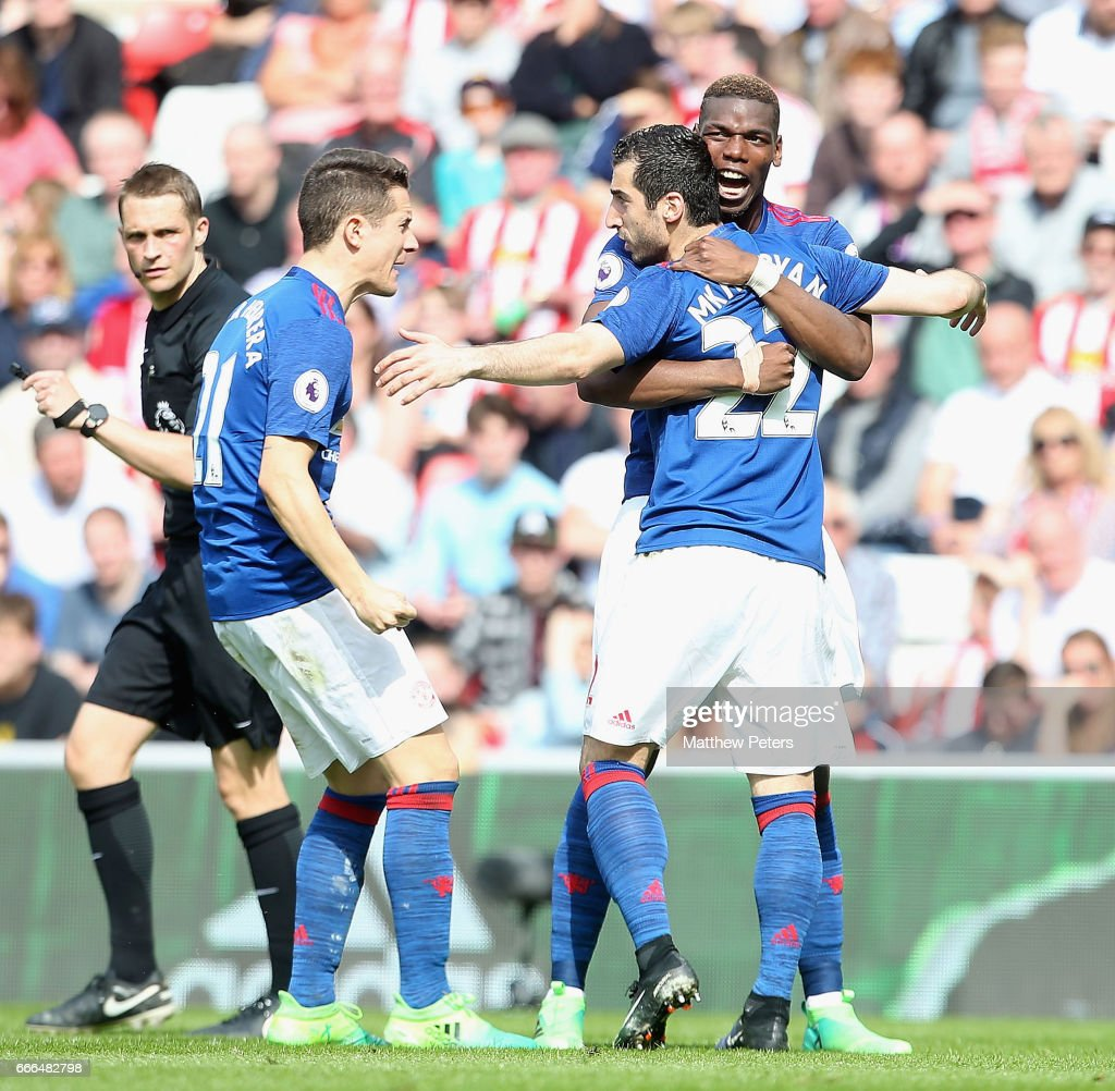 Henrikh Mkhitaryan of Manchester United celebrates scoring their second goal during the Premier League match between Sunderland and Manchester United at Stadium of Light on April 9, 2017 in Sunderland, England.