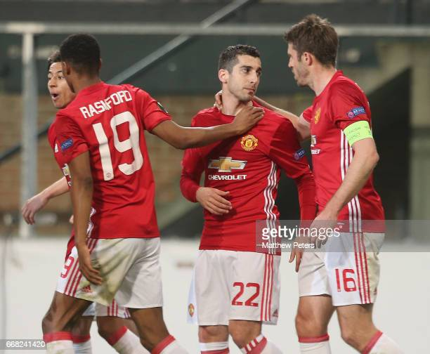 Henrikh Mkhitaryan of Manchester United celebrates scoring their first goal during the UEFA Europa League quarter final first leg match between RSC...