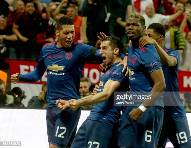 Henrikh Mkhitaryan of Manchester United celebrates scoring their second goal during the UEFA Europa League Final match between Manchester United and...