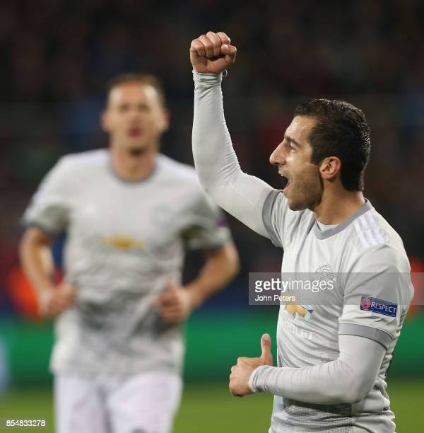 Henrikh Mkhitaryan of Manchester United celebrates scoring their fourth goal during the UEFA Champions League group A match between CSKA Moskva and...
