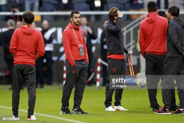 Henrikh Mkhitaryan of Manchester United Daley Blind of Manchester Unitedduring a training session prior to the UEFA Europa League final match between...