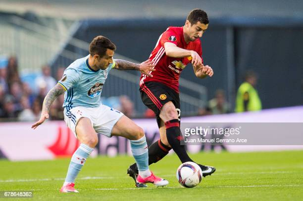 Henrikh Mkhitaryan of Manchester United duels for the ball with Hugo Mallo of RC Celta De Vigo during the Uefa Europa League semi final first leg...