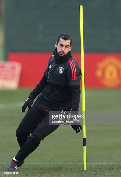 Henrikh Mkhitaryan of Manchester United in action during a first team training session at Aon Training Complex on December 4 2017 in Manchester...