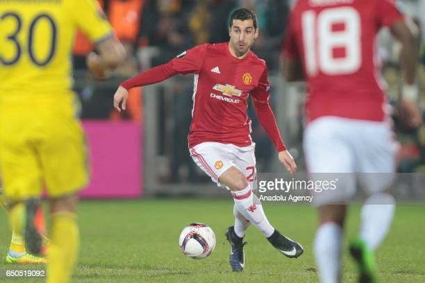 Henrikh Mkhitaryan of Manchester United in action during the UEFA Europa League Round of 16 first leg match between FC Rostov and Manchester United...