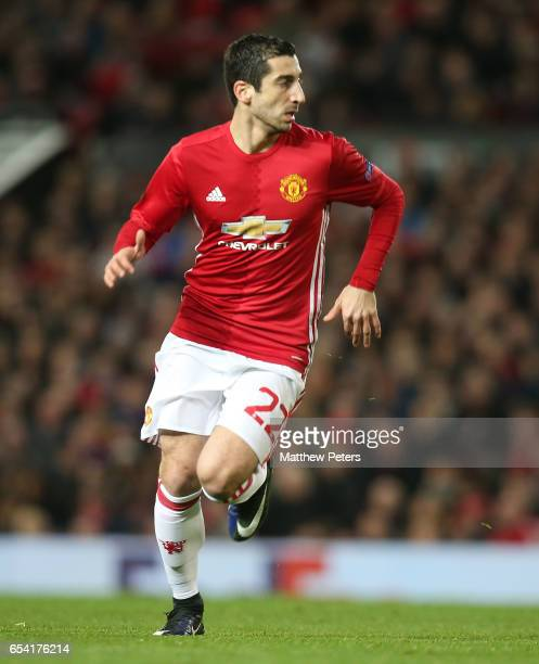 Henrikh Mkhitaryan of Manchester United in action during the UEFA Europa League Round of 16 second leg match between Manchester United and FK Rostov...