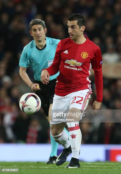 Henrikh Mkhitaryan of Manchester United in action during the UEFA Europa League quarter final second leg match between Manchester United and RSC...