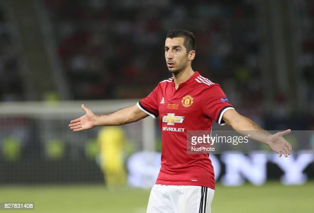 Henrikh Mkhitaryan of Manchester United in action during the UEFA Super Cup match between Real Madrid and Manchester United at Philip II Arena on...