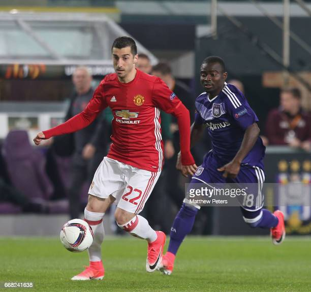 Henrikh Mkhitaryan of Manchester United in action with Frank Acheampong of ASC Anderlecht during the UEFA Europa League quarter final first leg match...