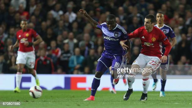 Henrikh Mkhitaryan of Manchester United in action with Frank Acheampong of RSC Anderlecht during the UEFA Europa League quarter final second leg...