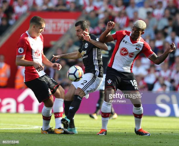 Henrikh Mkhitaryan of Manchester United in action with Mario Lemina of Southampton during the Premier League match between Southampton and Manchester...