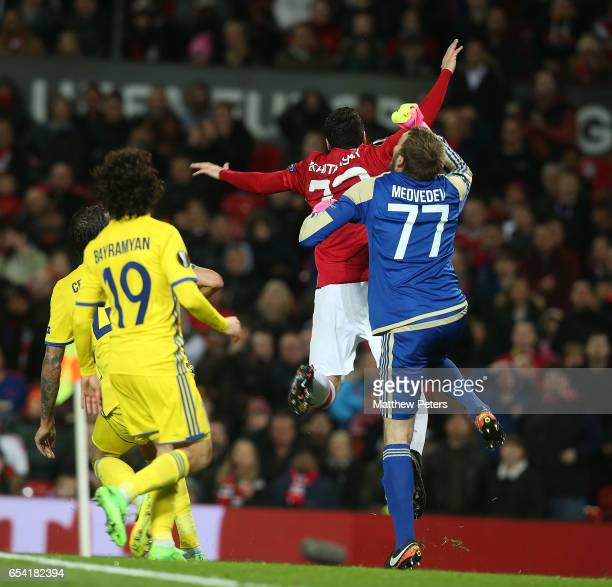 Henrikh Mkhitaryan of Manchester United in action with Nikita Medvedev of FK Rostov during the UEFA Europa League Round of 16 second leg match...