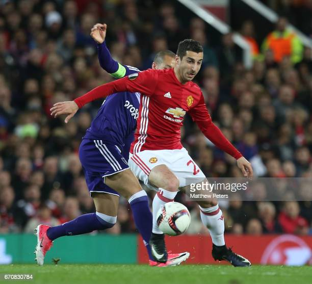 Henrikh Mkhitaryan of Manchester United in action with Sofiane Hanni of RSC Anderlecht during the UEFA Europa League quarter final second leg match...