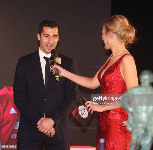 Henrikh Mkhitaryan of Manchester United is interviewed by presenter Rachel Riley at the Manchester United annual Player of the Year awards at Old...