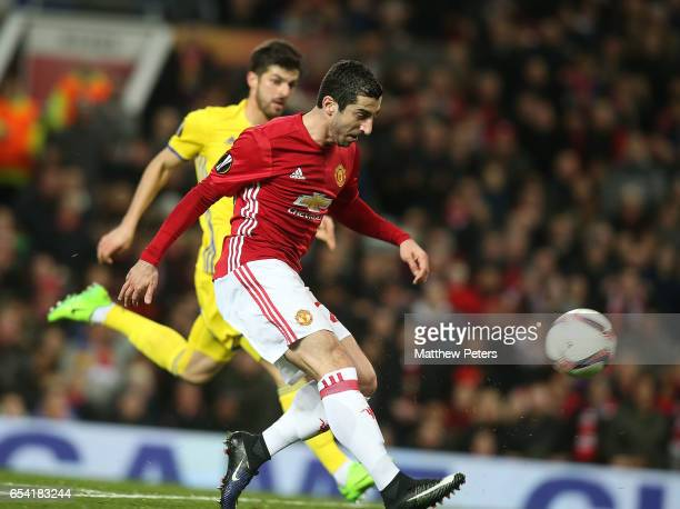 Henrikh Mkhitaryan of Manchester United misses a chance during the UEFA Europa League Round of 16 second leg match between Manchester United and FK...