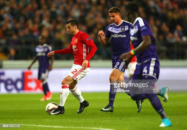Henrikh Mkhitaryan of Manchester United runs at the defence during the UEFA Europa League quarter final first leg match between RSC Anderlecht and...