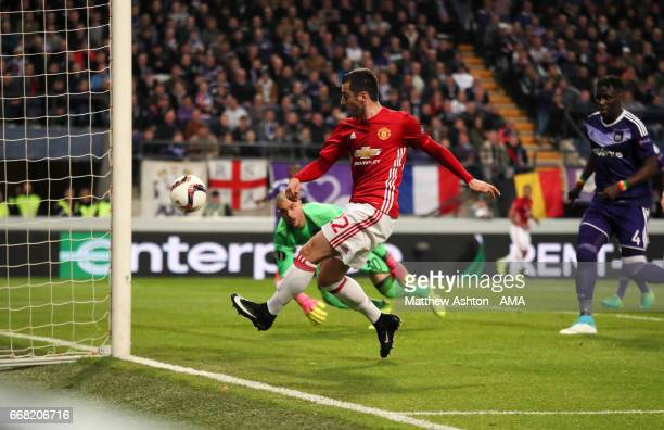 Henrikh Mkhitaryan of Manchester United scores a goal to make it 01 during the UEFA Europa League quarter final first leg match between RSC...