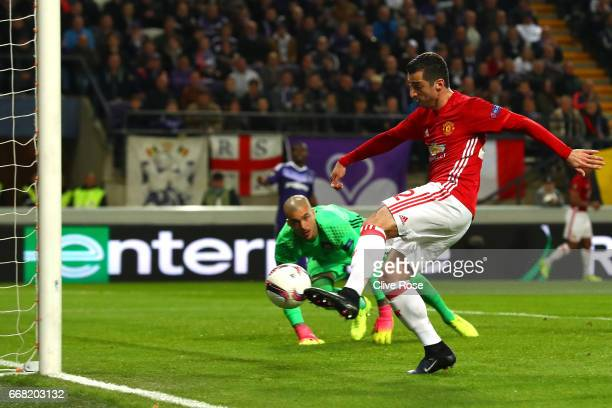 Henrikh Mkhitaryan of Manchester United scores his sides first goal during the UEFA Europa League quarter final first leg match between RSC...
