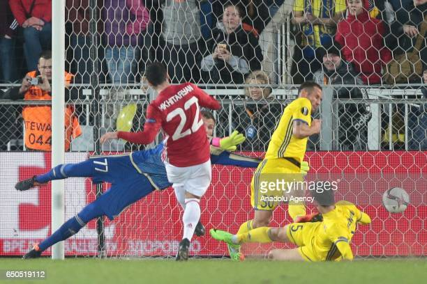 Henrikh Mkhitaryan of Manchester United scores his team's first goal during the UEFA Europa League Round of 16 first leg match between FC Rostov and...
