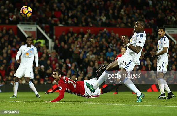 Henrikh Mkhitaryan of Manchester United scores his team's third goal during the Premier League match between Manchester United and Sunderland at Old...