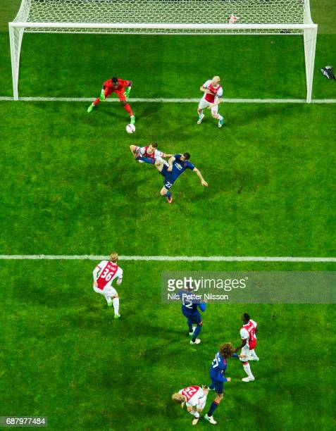 Henrikh Mkhitaryan of Manchester United scores the decisive goal to 02 during the UEFA Europa League Final between Ajax and Manchester United at...