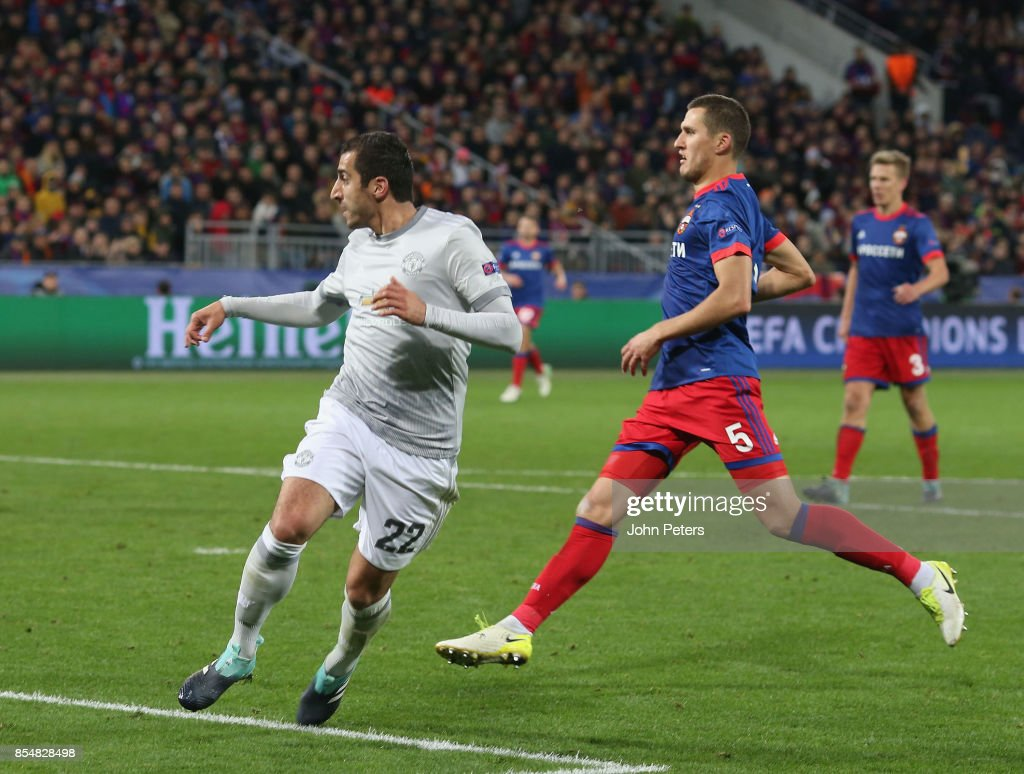 Henrikh Mkhitaryan of Manchester United scores their fourth goal during the UEFA Champions League group A match between CSKA Moskva and Manchester United at WEB Arena on September 27, 2017 in Moscow, Russia.