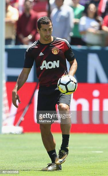 Henrikh Mkhitaryan of Manchester United warms up ahead of the International Champions Cup 2017 preseason friendly match between Real Madrid and...