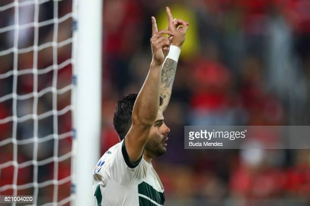 Henrique Almeida of Coritiba celebrates a scored goal during a match between Flamengo and Coritiba as part of Brasileirao Series A 2017 at Ilha do...